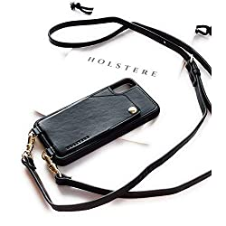 Genuine Vintage Eco-Friendly Leather iPhone Case Crossbody - Cell Phone Purse Cross Body w/Wallet ID Card Holder Sleeve, Adjustable Shoulder Strap; iPhone Leash for Travel (Black, iPhone XR)