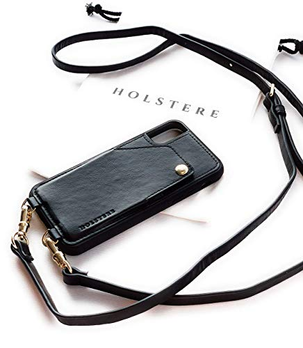 Genuine Eco-Friendly Leather Black iPhone Case Crossbody - Cell Phone Purse Cross Body Wallet ID Card Holder Sleeve, Adjustable Shoulder Strap; iPhone Leash for Travel (Black, iPhone 11 Pro Max)
