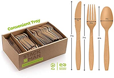 Stack Man Disposable Cutlery Set [360 Pack] 100% Compostable Plastic Silverware, Large Premium Heavy-Duty Flatware Utensils Eco