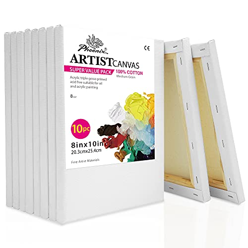 PHOENIX White Blank Cotton Stretched Canvas Artist Painting - 8x10 Inch / 10 Pack - 5/8 Inch Profile Triple Primed for Oil & Acrylic Paints