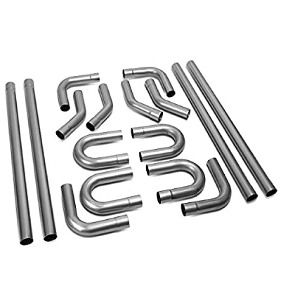 "2.5"" Custom Exhaust Kit 16PCS Mild Steel Tubing Mandrel Bend Pipe Straight & U-Bend Universal 2 1/2'' Inch OD"