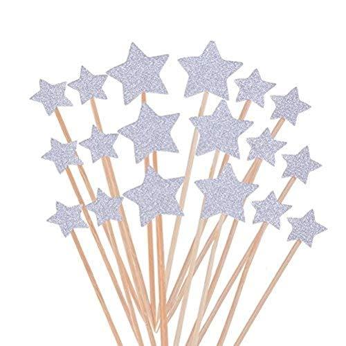 Kuchendekoration Stern,50er Pack Star Cupake Toppers Sticks Glitter Kuchen Topper für Kinder Party Kuchen Dekoration Geburtstag Deko Party Gegenstände Silber 9.2CM