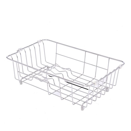 Ovale évier panier blanc robuste wireware metal cuisine EGOUTOIR Rack couché plastique