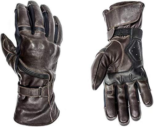 Helstons - Guantes para moto de piel de titanio, color marrón, T8