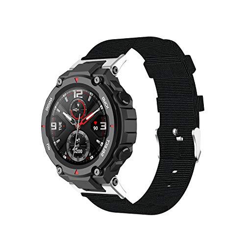 Chofit Correa compatible con Amazfit T-Rex Pro correa, bandas tejidas de tela de nailon ligero, correa de repuesto para reloj inteligente T-Rex Pro/T-Rex (negro)