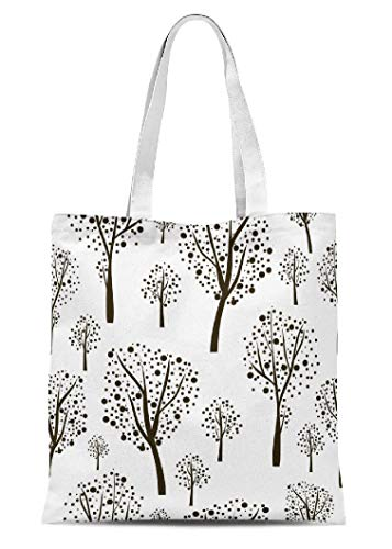 threetothree Plain Canvas Tote Bags for Women Large Tote Bag Graphic Seamless Black Trees Canvas Reusable Grocery Bags Shopping Bags 136 x 156 Inches Trees