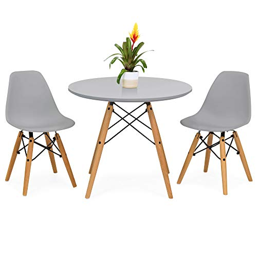 Best Choice Products Kids Mid-Century Modern Dining Room Round Table Set w/ 2 Armless Wood Leg Chairs - Gray