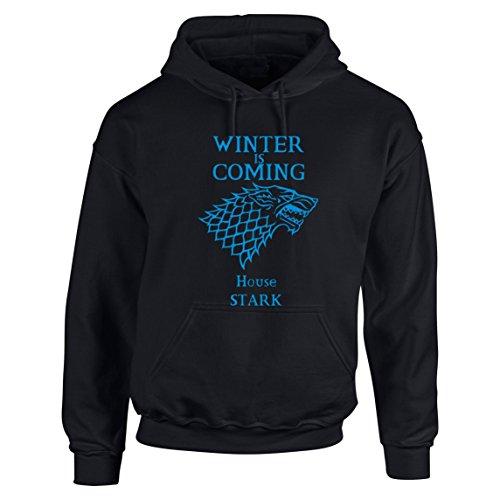 Bisura Felpa Trono di Spade Game of Thrones House Stark Winter Is Coming (M, Nero)
