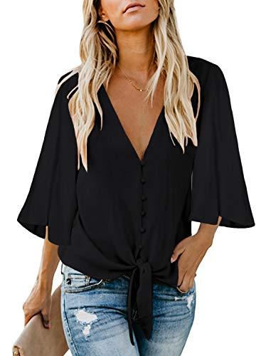 FIYOTE Damen Hemd Lose Langarmshirt Knopf Top Tunika Oberteile Hemd, 2-schwarz, XL