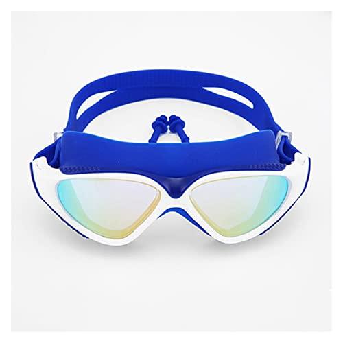 Gafas de Natación Profesional Adulto Impermeable protección UV Protección contra Niebla Gafas de Buceo Ajustables (Color : Blue White, Eyewear Size : One Size)