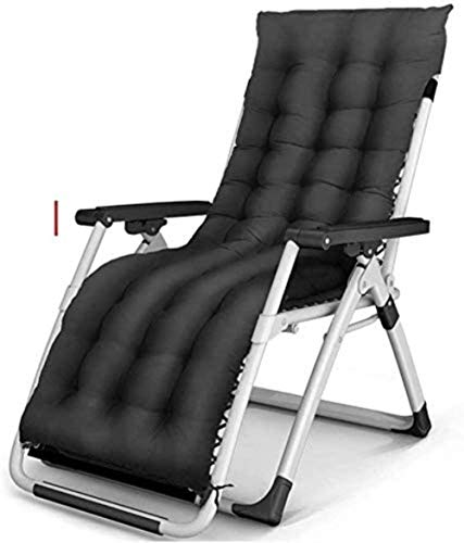 OESFL Chair Sun Lounger Leisure with Pillows Reclining Garden Zero gravity Recliner Terrace Foldable Comfortable Adjustable Outdoor Office Beach Extra Wide Patio Lounger with Black Cushion