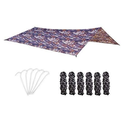 Générique Set Camping Bâche Anti-Pluie, Imperméable Tente Parasol Abri de Survie, Cordes en Nylon et Piquets de Tente, Équipement de Camping et Randonnée - D
