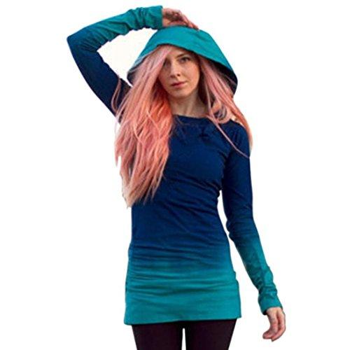 NPRADLA Sommer Longshirt Damen Langarm Bluse Frauen Hoodies Sweatshirts Mit Kapuze Farbverlauf Tops