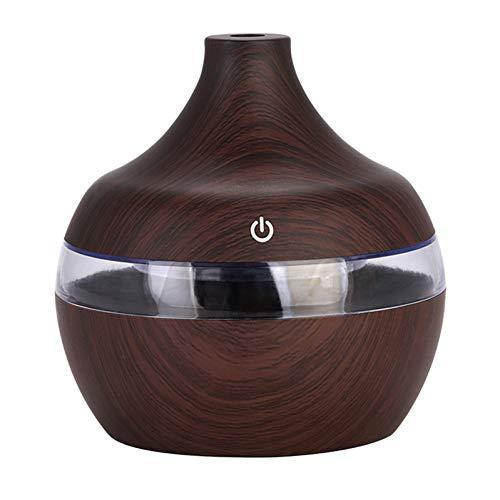 BWZRBB Aroma Diffuser, USB-luchtbevochtiger, 300 ml, aromatherapie, etherische olie, diffuser, houtnerf, ultrasone aroma mist maken met LED-licht