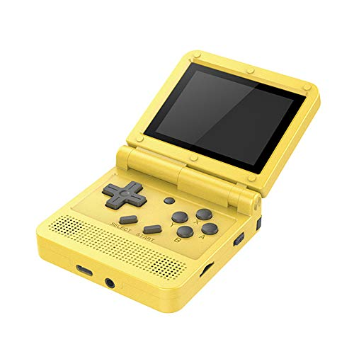 GoolRC Flip Handheld Console 3-inch IPS Screen Open System Game Console with 16G TF Card Built in 2000 Games Portable Mini Retro Game Console for Kids Yellow