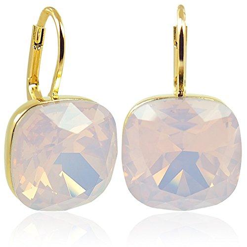 Ohrringe mit Kristallen von Swarovski® Gold Rosa Rose Water Opal NOBEL SCHMUCK