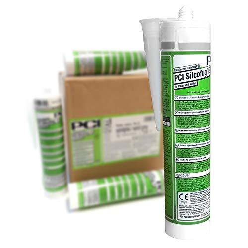 PCI Silcofug E 12 x 310 ml Sanitär Silikon Dichtstoff (zementgrau)