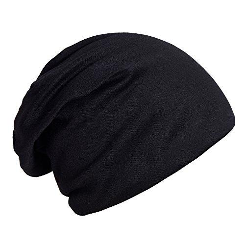 DonDon Atmungsaktive Mütze Beanie mit super flauschigem Innenfutter Feinstrick schwarz