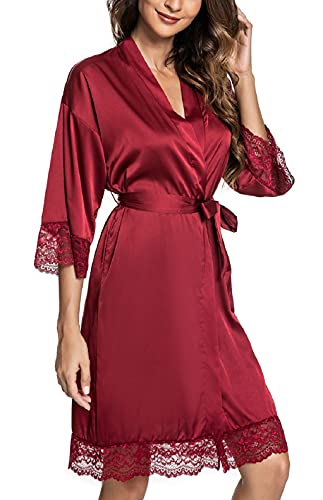 CMTOP Sexy Satén para Mujer Camisón Mujer Seda Camisones Dormir Verano,Albornoz para Mujer, túnica con cinturón,Batas Mujer Encaje Conjuntos (Vino Rojo, M)