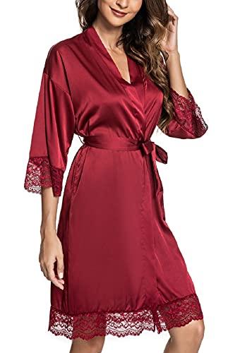 CMTOP Sexy Satén para Mujer Camisón Mujer Seda Camisones Dormir Verano,Albornoz para Mujer, túnica con cinturón,Batas Mujer Encaje Conjuntos (Vino Rojo, L)