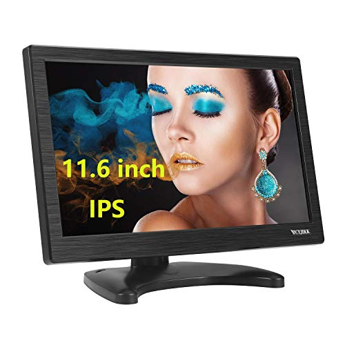 """ZCYJIKK 12"""" Inch 1366x768 IPS TFT LCD Monitor with AV HDMI BNC VGA Input Portable Mini HD Color Screen Display with Built-in Speaker & Remote"""