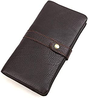 SRY Mens Wallet Mid-Length Leather Wallet with Zipper Button (Color : Brown, Size : S)
