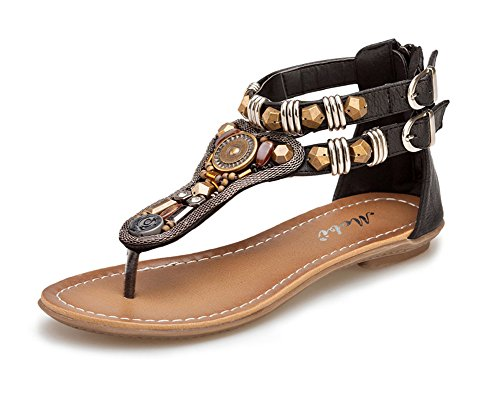 Las Mujer Bohemia Sandalias T-Correa Romano Retro Planas Zapatos De Hebilla,Sandalias del Verano Negro 39EU
