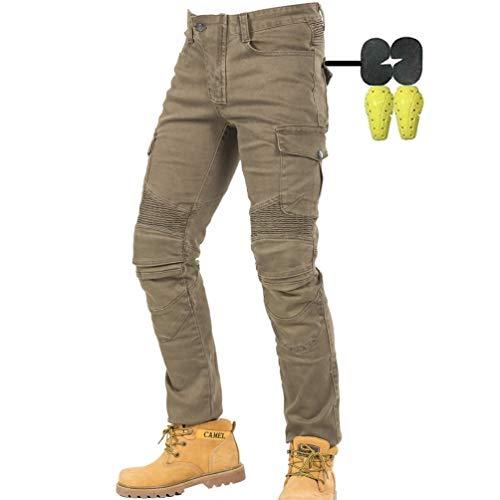 CBBI-WCCI Hombre Motocicleta Pantalones Moto Jeans con Protección Motorcycle Biker Pants (Verde, 34W / 32L)