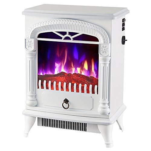 Portable Rétro électrique Cheminée à bois 3D Flamme Effet Cuisinière électrique et 2 réglages de chaleur (1000W / 2000W) économie d'énergie et d'économie d'énergie Chauffe-Chambre ( Color : White )