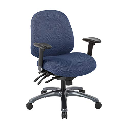 Office Star 8500 Series Multi-Function Mid Back Executive Ergonomic Office Chair with Seat Slider and Titanium Finish Base, Diamond Blue Galaxy Fabric