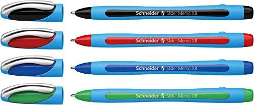 Schneider Slider Memo XB Kugelschreiber (mit Kappe, Strichstärke: XB, Schreibfarbe: rot/schwarz/blau/grün, Made in Germany) 4er Blisterkarte