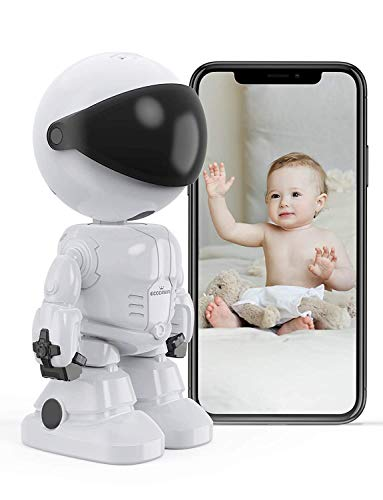 Überwachungskamera, eccomum WLAN IP Kamera mit Bewegungserkennung, Kamera für Baby Hunde, Nachtsicht und Intelligenter Rotation, Zwei-Wege-Audio, unterstützt Fernalarm und App Kontrolle, IOS/Android