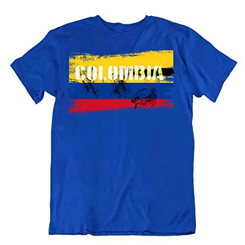Body soul-n-Spirit - Camiseta de manga corta, diseño de bandera de Colombia - Azul - Large