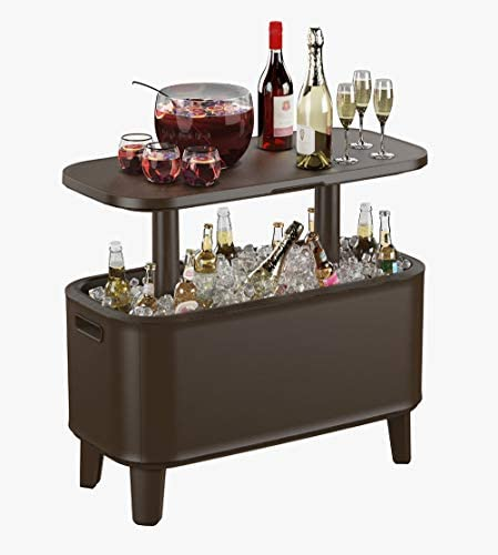 Keter Breeze Bar Outdoor Patio Furniture and Hot Tub Side Table with 17 Gallon Beer and Wine product image