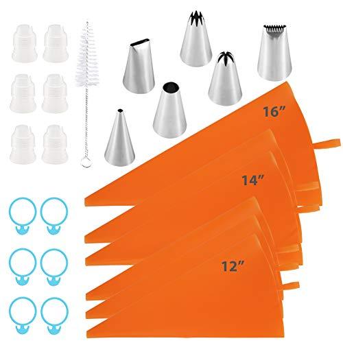 絞り袋 先端付き 再利用可能 絞り袋 極厚 破裂防止 12インチ+14インチ+16インチ アイシング絞り袋 クリームアイシング フロスティング クッキーケーキデコレーションツール カプラー6個+バッグタイ6個+ブラシ1個 オレンジ