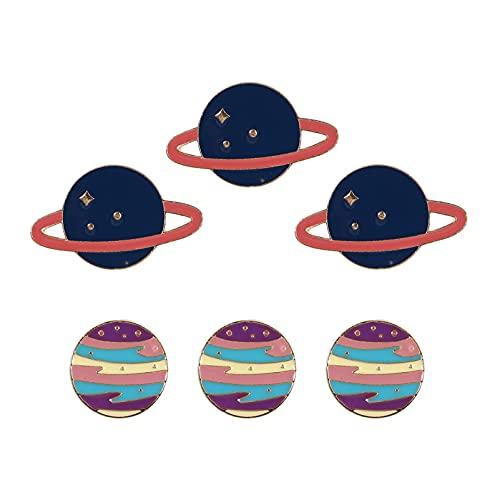 VALICLUD 6 Pins de Broche Lindos Planet Space Esmalte Broche Solapa Insignia Pins para Planet Spaceman Fiesta Ropa Bolsa Chaqueta Mochila Decoración
