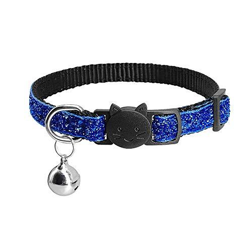 Cuello de Gato de Bling, para Gatos Gatitos Pet Collares Pet Corte AJUSTEBLE COLVO DE por Puppy con Bell,Blau,18~27cm