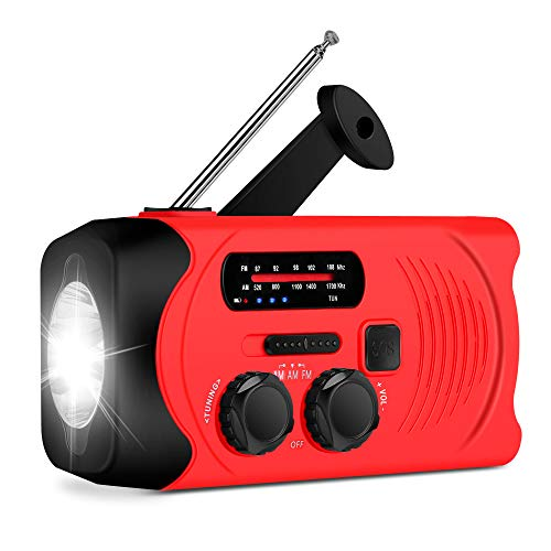 Wind Up Solar Radio,Emergency Radio Crank Powered Radio with Flashlight Torch,Rechargeable USB Phone Charger by RunningSnail | Emergency Use for Camping, Hiking (MD-088P)