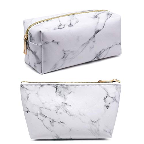 Marble Makeup Bag,2 Pack Marble Cosmetic Bag Small Makeup Pouch for Purse Waterproof Marble Pattern Cosmetic Pouch (White)