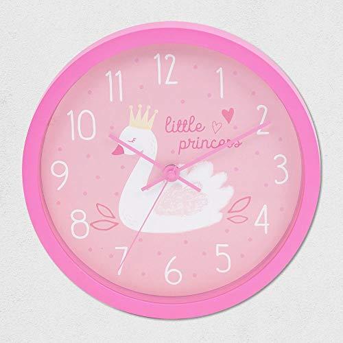Gewoon voor kinderen zwaan prinses roze muur slaapkamer klok