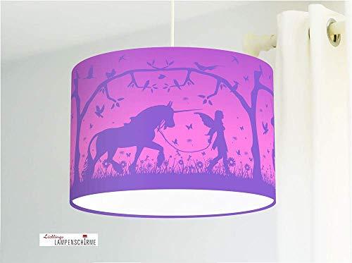 Deckenlampe Kinderzimmer mit Einhörnern und Elfen in Violett aus Baumwolle - alle Farben möglich