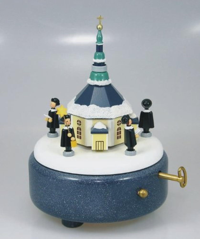 Rudolphs Schatzkiste Play clock play box play work Seiffener church + Kurrende 18cm Erzgebirge