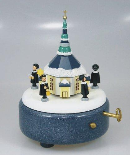 Spieluhr Spieldose Spielwerk Seiffener Kirche + Kurrende 18cm Erzgebirge NEU