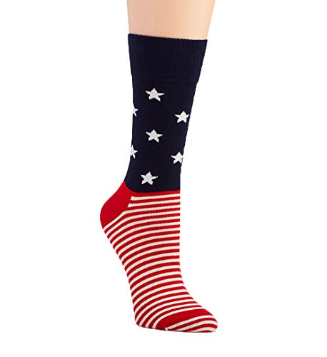 Happy Socks Unisex Stars and Stripes Combed Cotton Socks (Navy/Red, numeric_10)