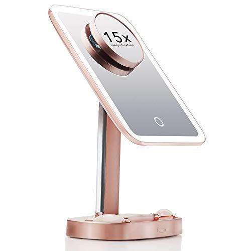 Fancii Espejo de maquillaje LED con 3 ajustes de luz y 15 aumentos – elegir entre luz natural, luz blanca suave o blanca neutra – Espejo regulable oro rosa (Aura)