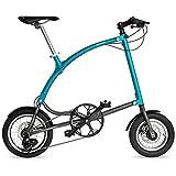 Bicicleta Plegable OSSBY Curve Eco Turquesa - Bicicleta Urbana Plegable para Ciudad - 3 Velocidades - Rueda de 14' - Cuadro de Aluminio - Fabricada en España
