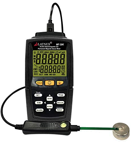 MF-30K AC/DC Gauss Meter with Certificate, Measures Magnetic Fields Strength and Pole(Residual Magnet, Permanent). Integrated High AC ElectroMagnetic Fields Level Measurement (<15000G/Milli Tesla)