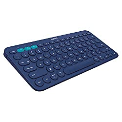 Logitech K380 Wireless Multi-Device Keyboard for Windows, Apple iOS, Apple TV Android or Chrome, Bluetooth, Compact Space-Saving Design, PC/Mac/Laptop/Smartphone/Tablet (Blue),Logitech,920-007597
