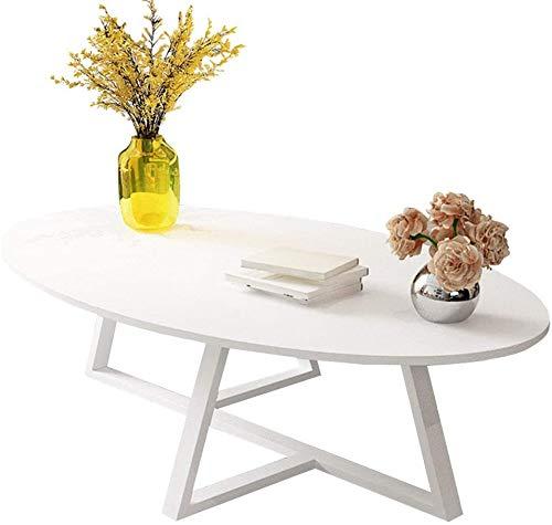 Akelizeng Diseño Moderno Sala de Mesa de café Ovalada, Estrecho Espacio de Mesa Auxiliar, Mesa de Centro del Metal,White-120×60×45cm