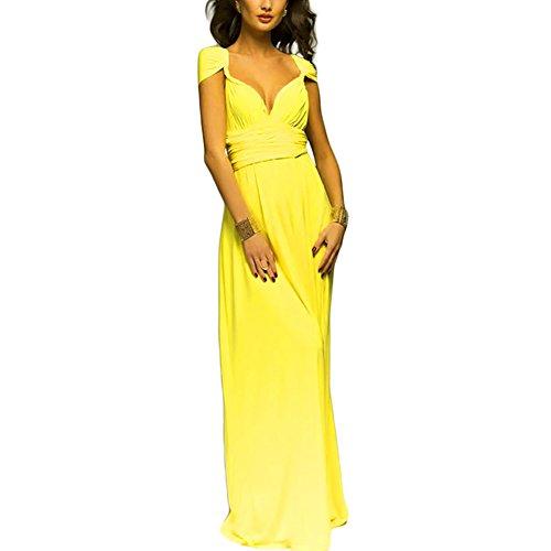 Vestido amarillo largo de noche para mujer